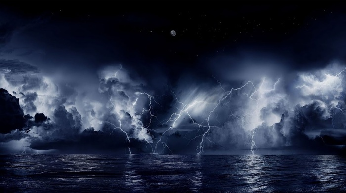 stunner, sky, stars, night, beautiful, sea, moon, lightning