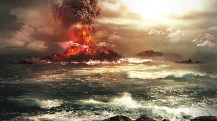 ocean, volcano, beautiful, wave, rocks, fantasy, coast, stunner, photoshop