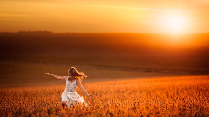 children, nature, wheat, light, sunset, girlie