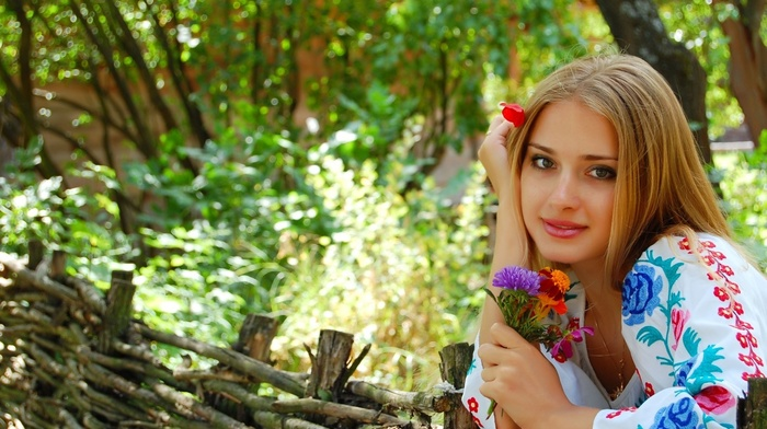 light brown, people, blonde, trees, city, fence, flowers, nature, sight, girl