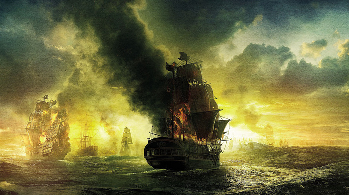 painting, ships, sky, sailfish, clouds, war, stunner, light, fire