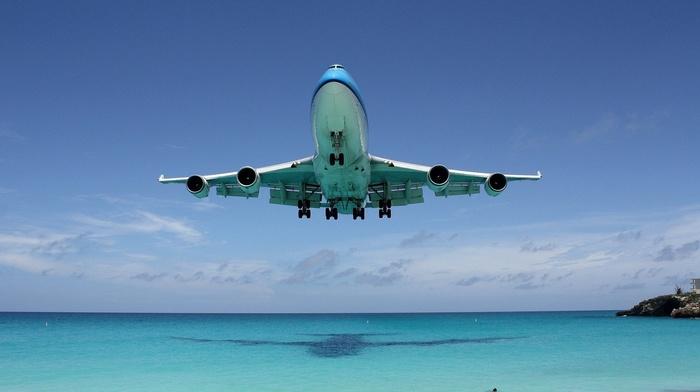 aircraft, sky, shadow, beach, ocean, fly, speed, airplane