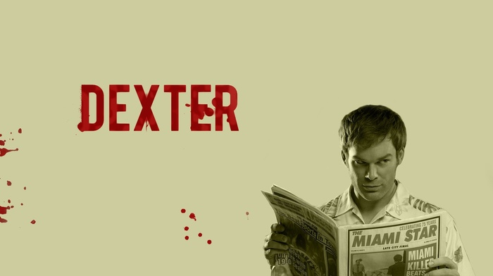 blood stains, TV, newspapers, Dexter Morgan, sepia