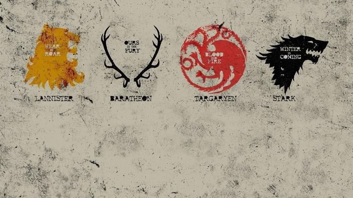 House Lannister, house stark, sigils, Game of Thrones, House Targaryen, House Baratheon
