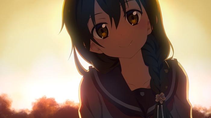 косы, девушки из аниме, школьная форма, оригинальные персонажи, аниме
