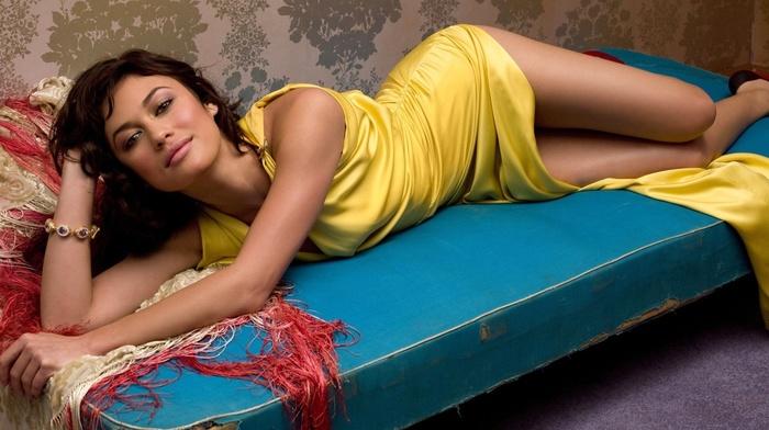 legs, in bed, Olga Kurylenko, dress