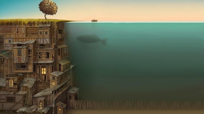абстрактные, кит, фантастическое исскуство, вода, забор, лодка, рыба, фильтр, произведение искусства, деревья, Jacek Yerka