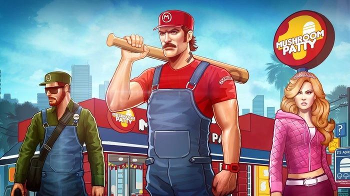 crossover, Princess Peach, mushroom, Luigi, Super Mario, Grand Theft Auto, Mario Bros.