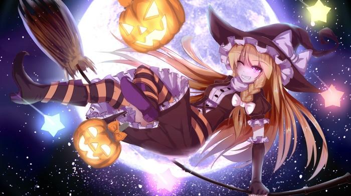 pumpkin, anime girls, stars, touhou, night, blonde, Kirisame Marisa, Halloween, moon, anime, stockings, witch