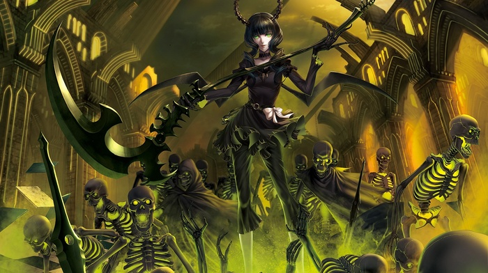 dead master, anime girls, Black Rock Shooter, anime, weapon