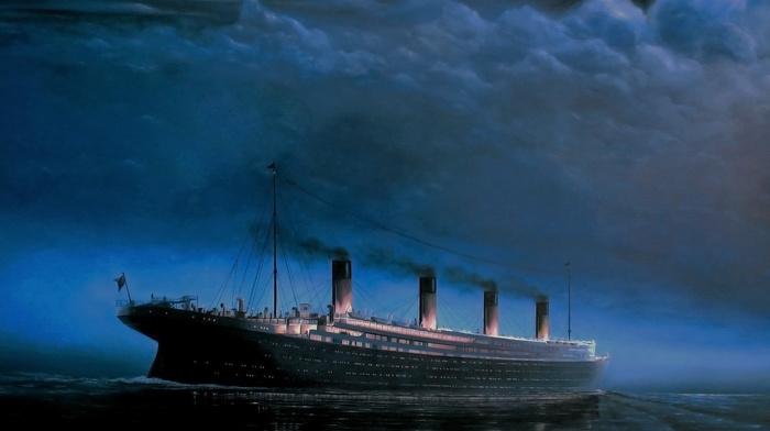 stunner, sky, ocean, night, painting, ship, painting