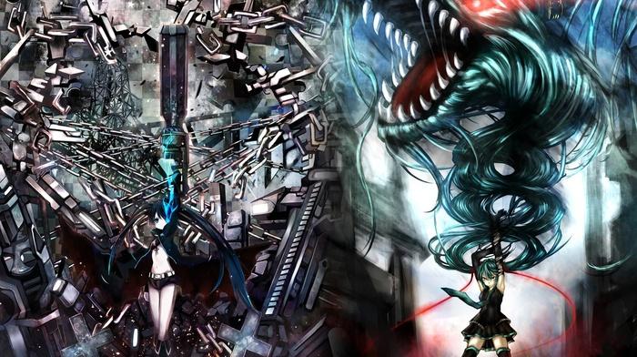 anime, Vocaloid, Hatsune Miku, Strength Black Rock Shooter, anime girls, Black Rock Shooter
