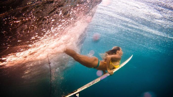 underwater, sports, ocean, girl, beautiful, water, surfing, wave