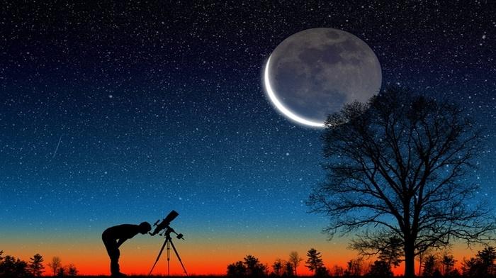landscape, evening, stunner, moon, stars, nature, photoshop, sky