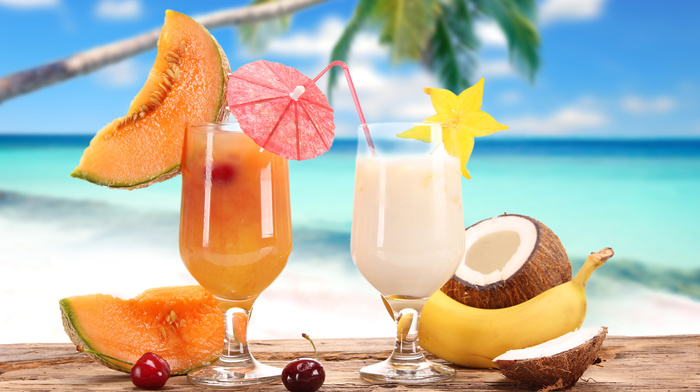 fruits, palm, background, delicious, summer, ocean