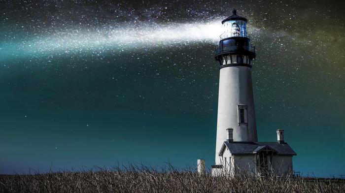 lodge, lighthouse, light, sky, stars, grass, stunner