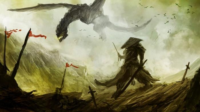 дракон, произведение искусства, меч