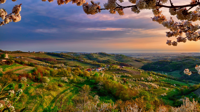 valley, stunner, sky, Italy