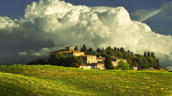 mountain, house, Italy, clouds, stunner, landscape, nature, sky