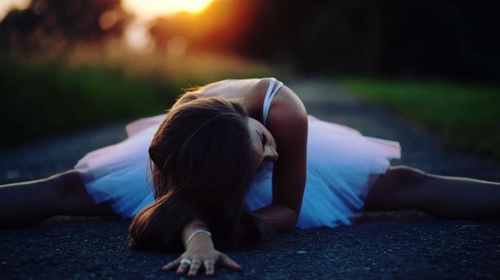 sunset, smooth skin, splits, brunette, white dress, ballet, girl