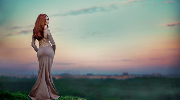 macro, sexy, girl, city, nature, red hair, photo, sky, ass, sunset, dress, people
