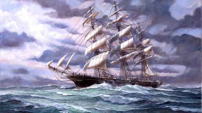 ocean, sailfish, ship, painting, painting, stunner, beautiful