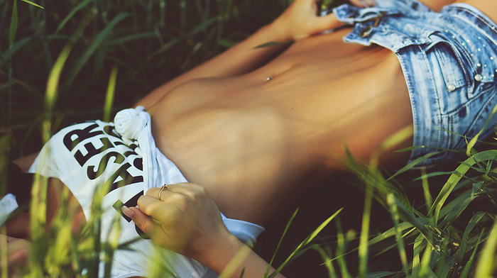 piercing, photo, macro, wheat, nature, field, girls, statuette