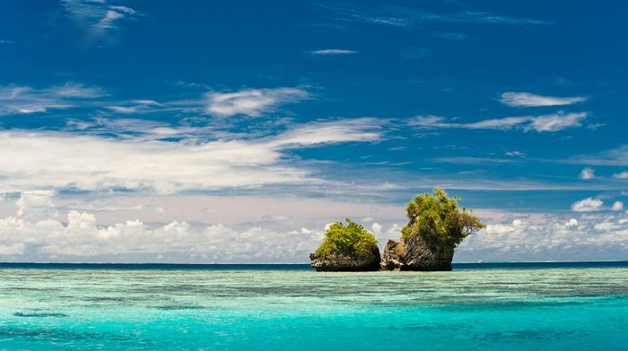 stunner, rocks, ocean, greenery, beauty, sky