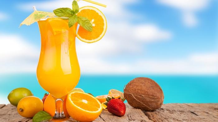 лайм, апельсины, лимон, вкусно, лето, небо, фон, клубника, море, кокос, сок