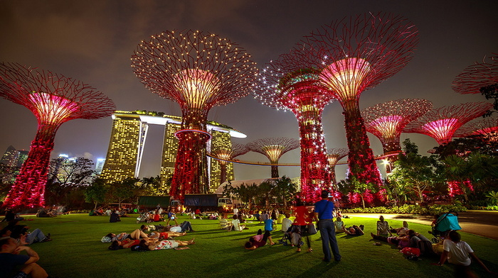 beauty, cities, evening, rest, lights, people, park