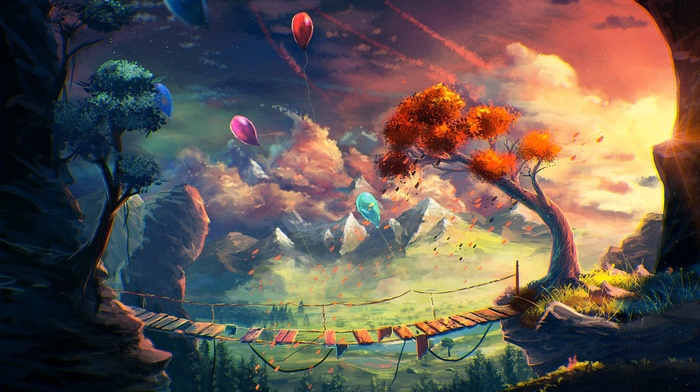 artwork, balloons, mountain, fantasy art, bridge, Sylar, anime, clouds