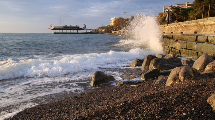 surf, morning, wave, embankment, sea, stunner