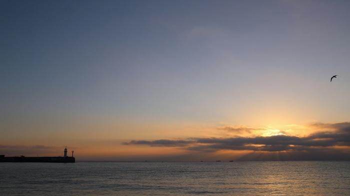 stunner, lighthouse, morning, dawn, sea, Sun, sky