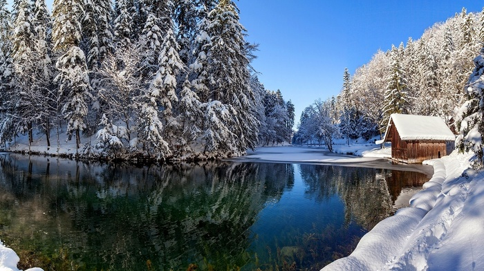 river, forest, snow, lodge, nature, winter