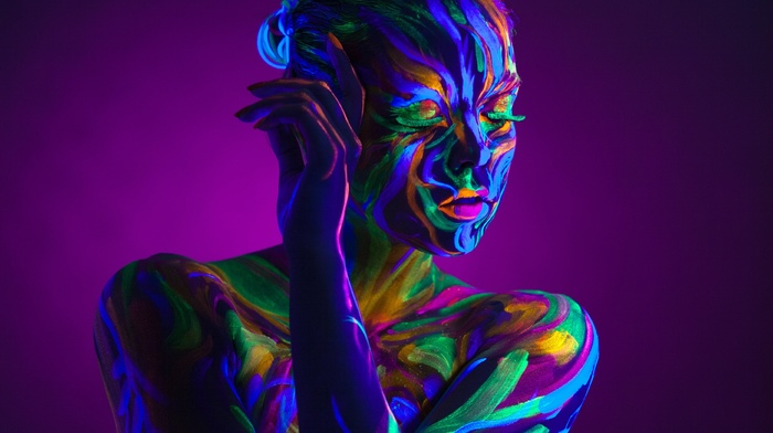 purple background, neon, bare shoulders, body paint, closed eyes, girl, colorful