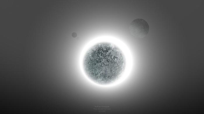 solar eclipse, planet, glowing, Starkiteckt, space art