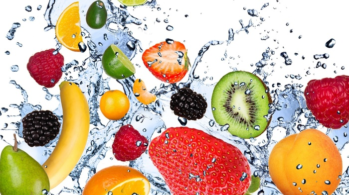 water, strawberry, fruits, delicious, white background