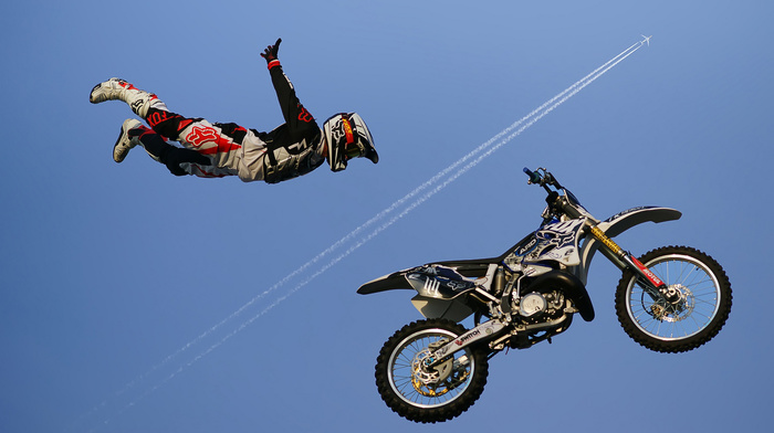 super, motorcycle, photo, airplane, extreme, fly, bike, sports, speed, sky