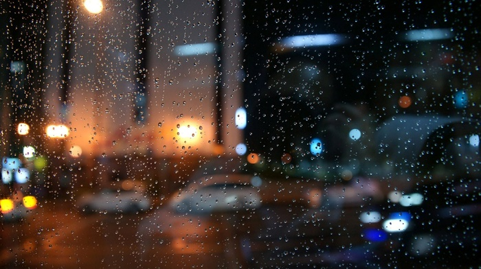 water on glass, rain, bokeh