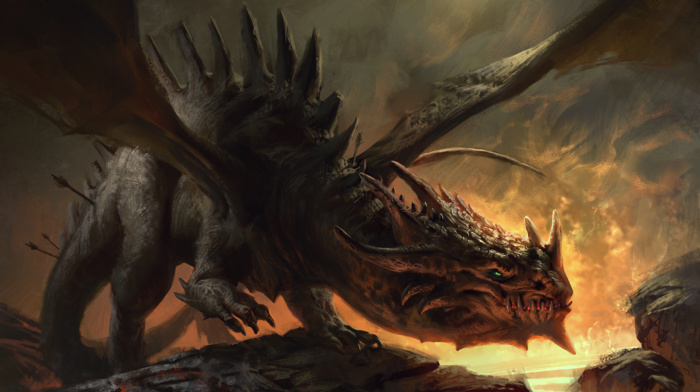 fantasy art, dragon, fire