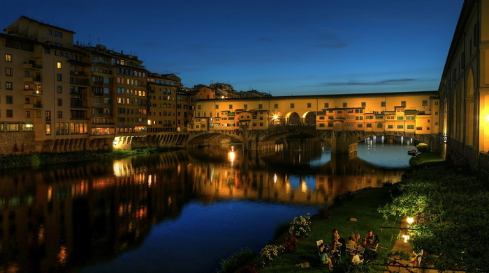 Italy, lights, river, cities, beauty, embankment