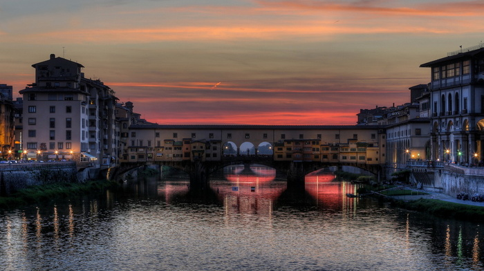 beauty, sunset, Italy, lights, bridge, river, stunner