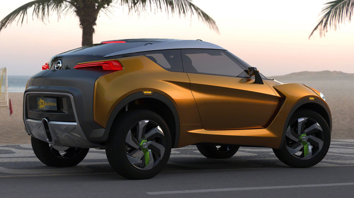 background, cars, concept, palm trees, extreme, rear view, Nissan