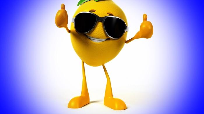 blue background, glasses, smiling, 3D