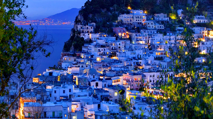 sea, cities, lights, island, Italy, houses, evening