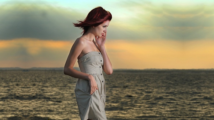 girl, Susan Coffey, dress, sea, redhead