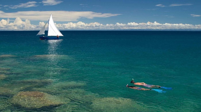 sky, sea, boat, ocean, people, clouds, nature, rest