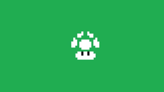 Super Mario, 1 up, one up, Super Mario Bros., Mario Bros., minimalism, pixel art