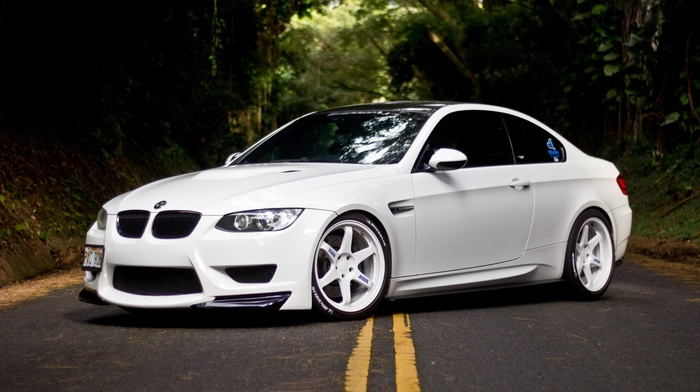 tuning, forest, bmw, m3, cars, road, BMW, white, supercar