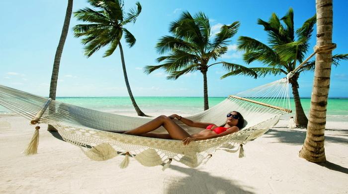 nature, palm trees, rest, ocean, resort, girl, summer, brunette, beach, tan